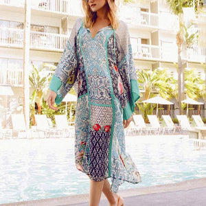 Fashion V Collar Floral Printed Loose  Beach Vacation Dress