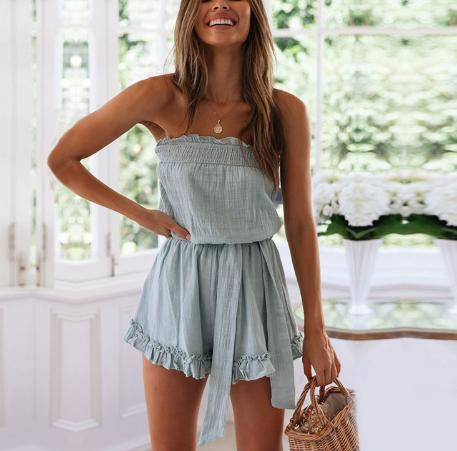 Ruffled Chest Strap Tie Jumpsuit