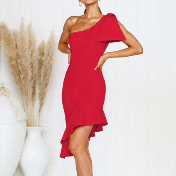 Sleeve Deep V Ruffled Fishtail Slim Dress