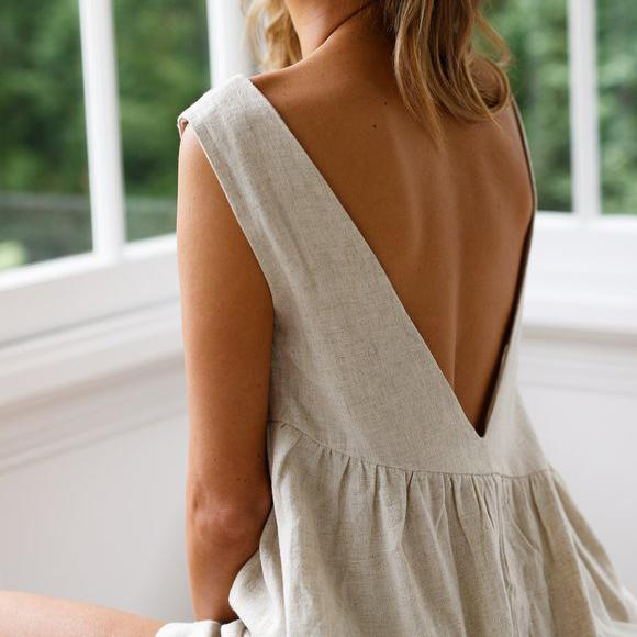 Solid Color Backless Sleeveless Casual Jumpsuit