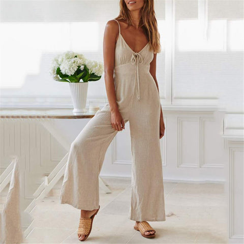 Fashion Solid Color Shoulder Straps Wide-Legged Pants
