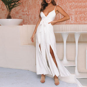 Strap sexy V-neck open back high slit bow loose jumpsuit