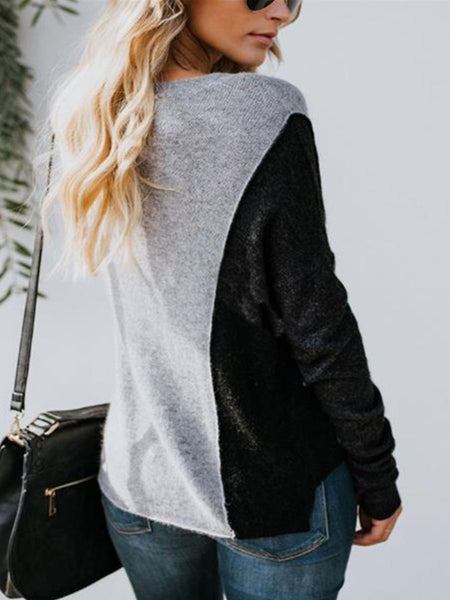 Daily Fashion Casual Loose Color Block Long Sleeve Knitting Top
