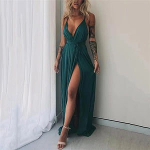 Sexy Pure Color Backless Slit Dress