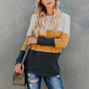 Round Neck  Patchwork Sweater