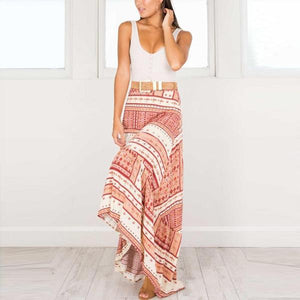 Bohemia Printing Irregular Beach Vacation Skirt