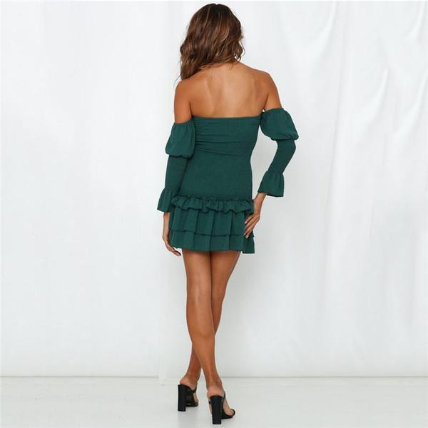 Elegant Off Shoulder Falbala Wrinkle Bodycon Dress