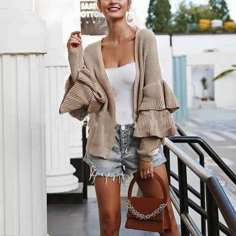 Casual Double-Layered Ruffled Sleeve Short Cardigan Sweater