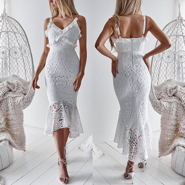 Sexy Deep-v Sling Lace Bodycon Dress