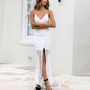 Sexy deep v collar plain split joiont maxi dress