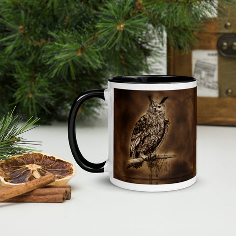 Clock work Owl Mug with black  Color Inside