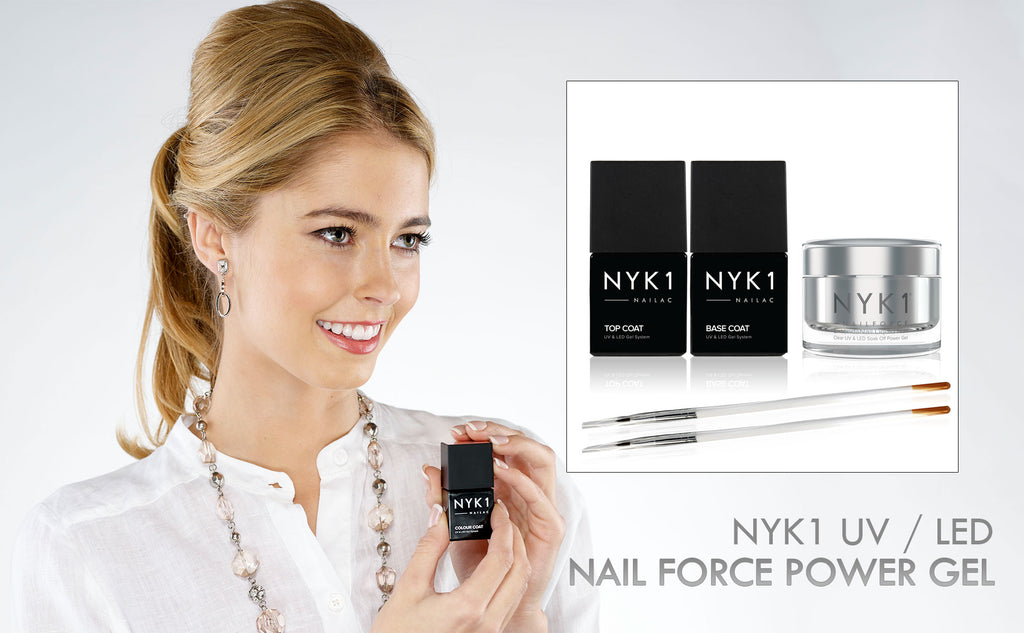 NYK1 Nail Force Power Builder Gel and Top and Base Coat Clear Gel Nail Polish