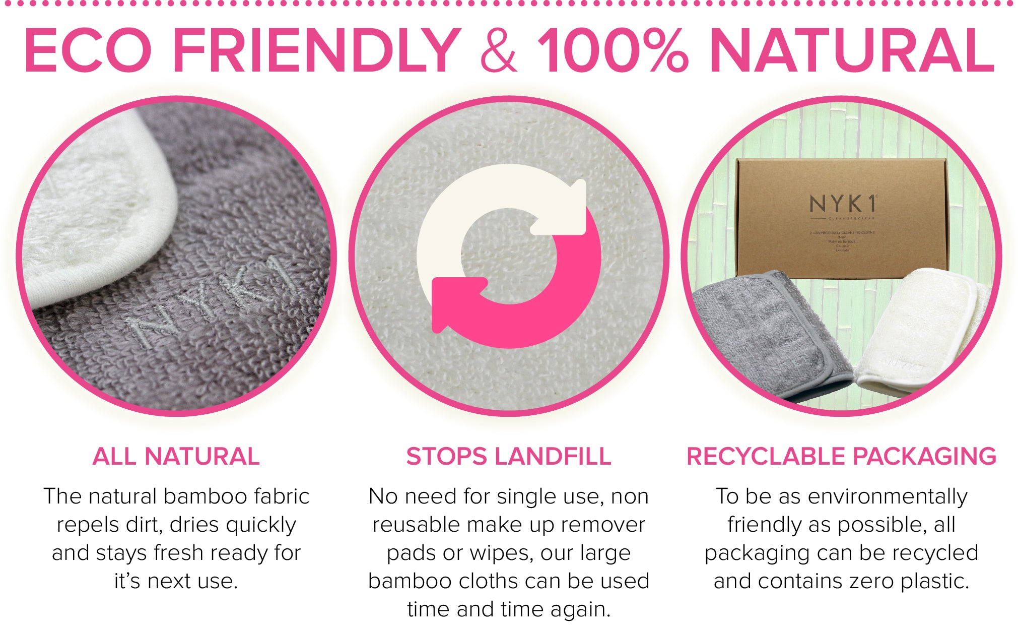 Easy To Keep Fresh & Clean - Face Cloth Towel made from natural Bamboo for makeup including mascara removal