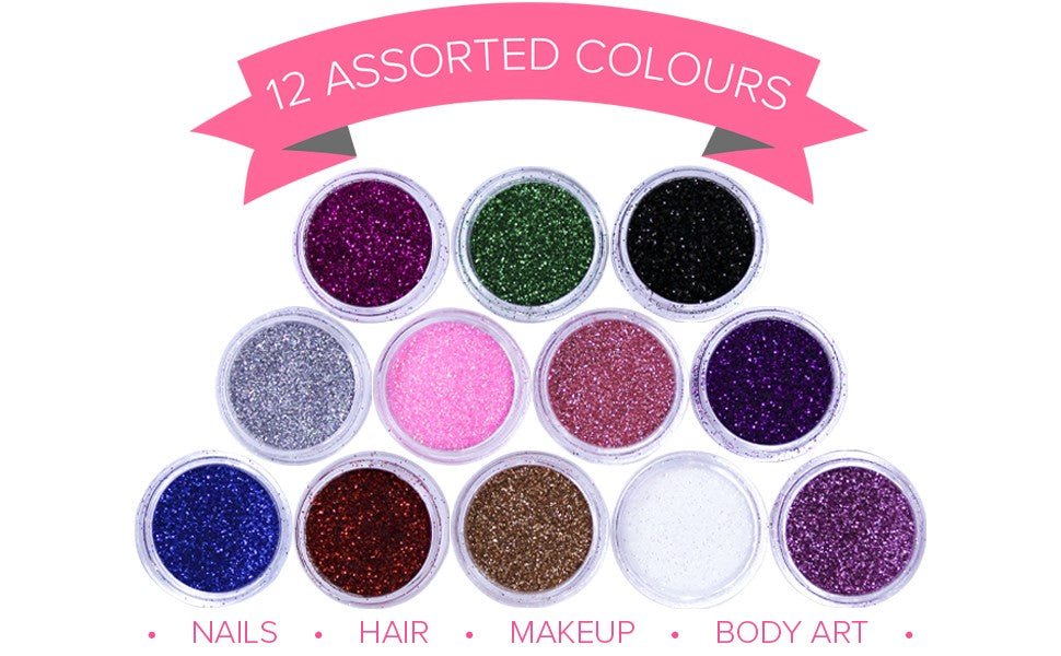 LUXURY 12 ASSORTED CUSTOMER FAVOURITE RATED HIGHEST GRADE GLITTER POTS - NAILS HAIR MAKEUP BODY ART
