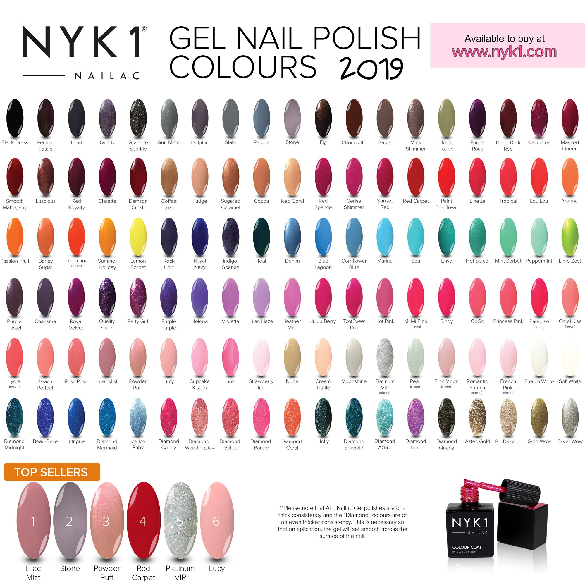 nyk1 gel nail polish nailac colour chart