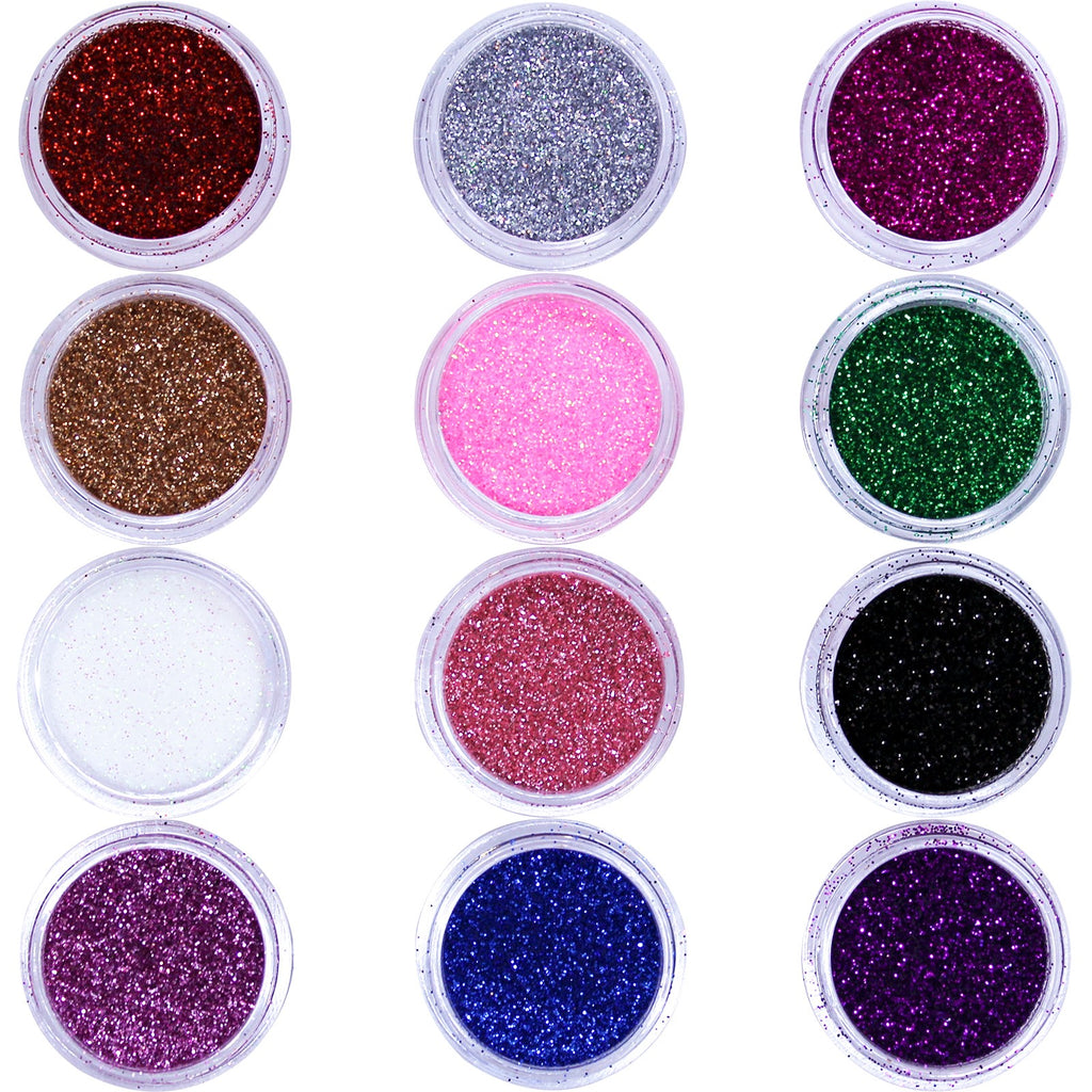Biodegradable Glitter for Gel Nail Art Hair or Makeup 12 Pot Set