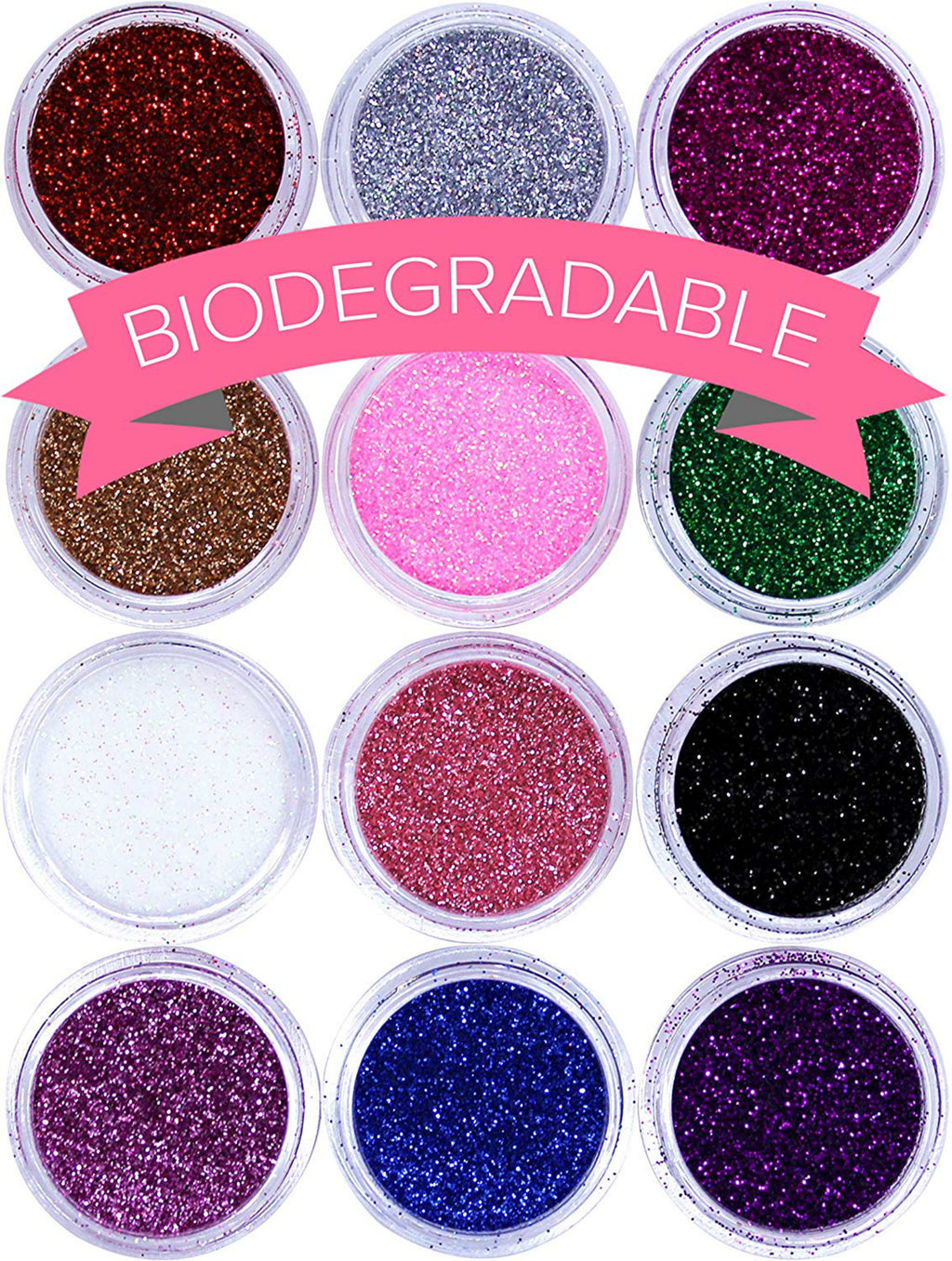NYK1 Biodegradable Glitter for Gel Nail Art Pots Set ULTRA FINE DUST POWDER