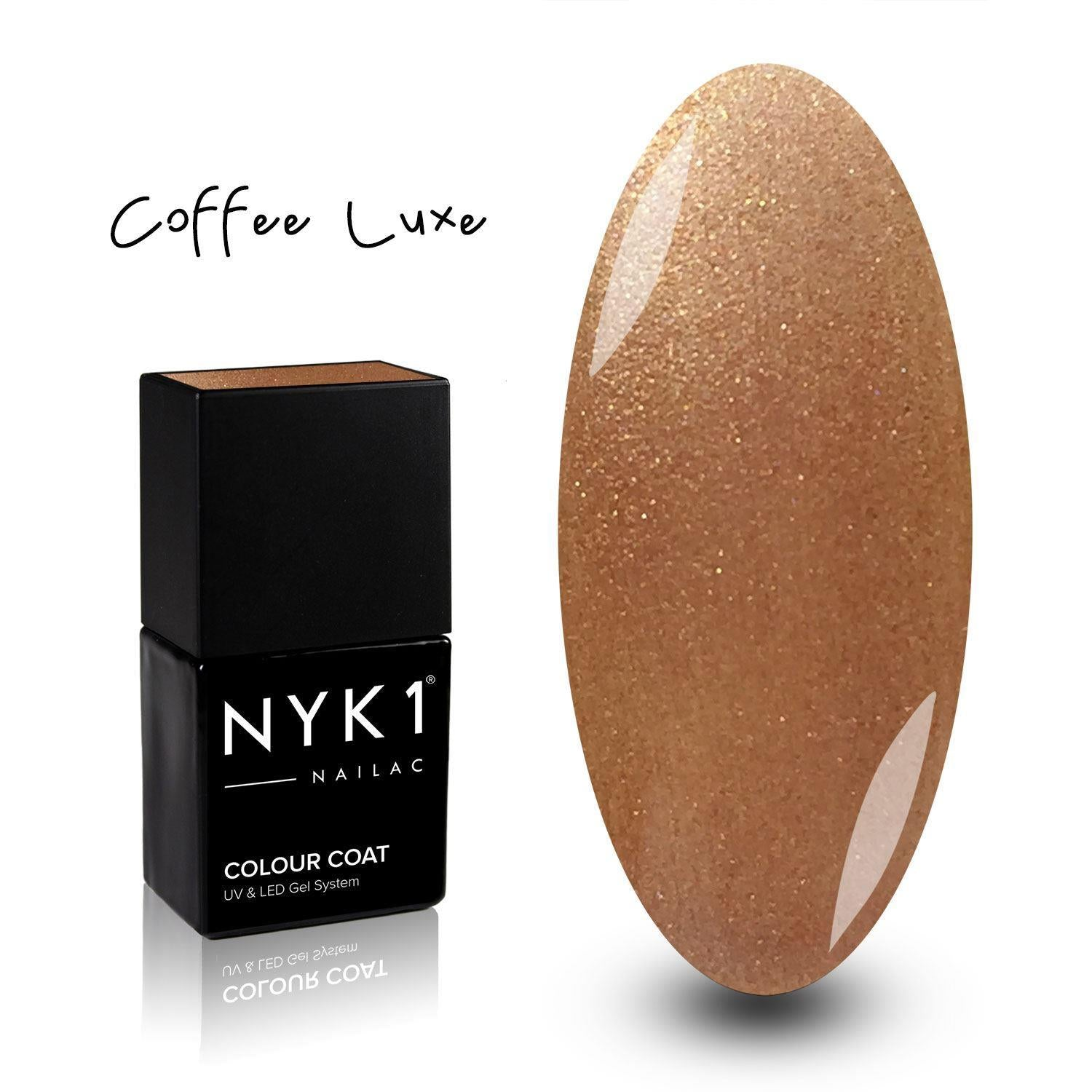 NYK1 Coffee Gold Glitter Gel Nail Polish