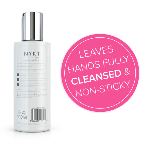 Leaves hands fully cleansed & non-sticky