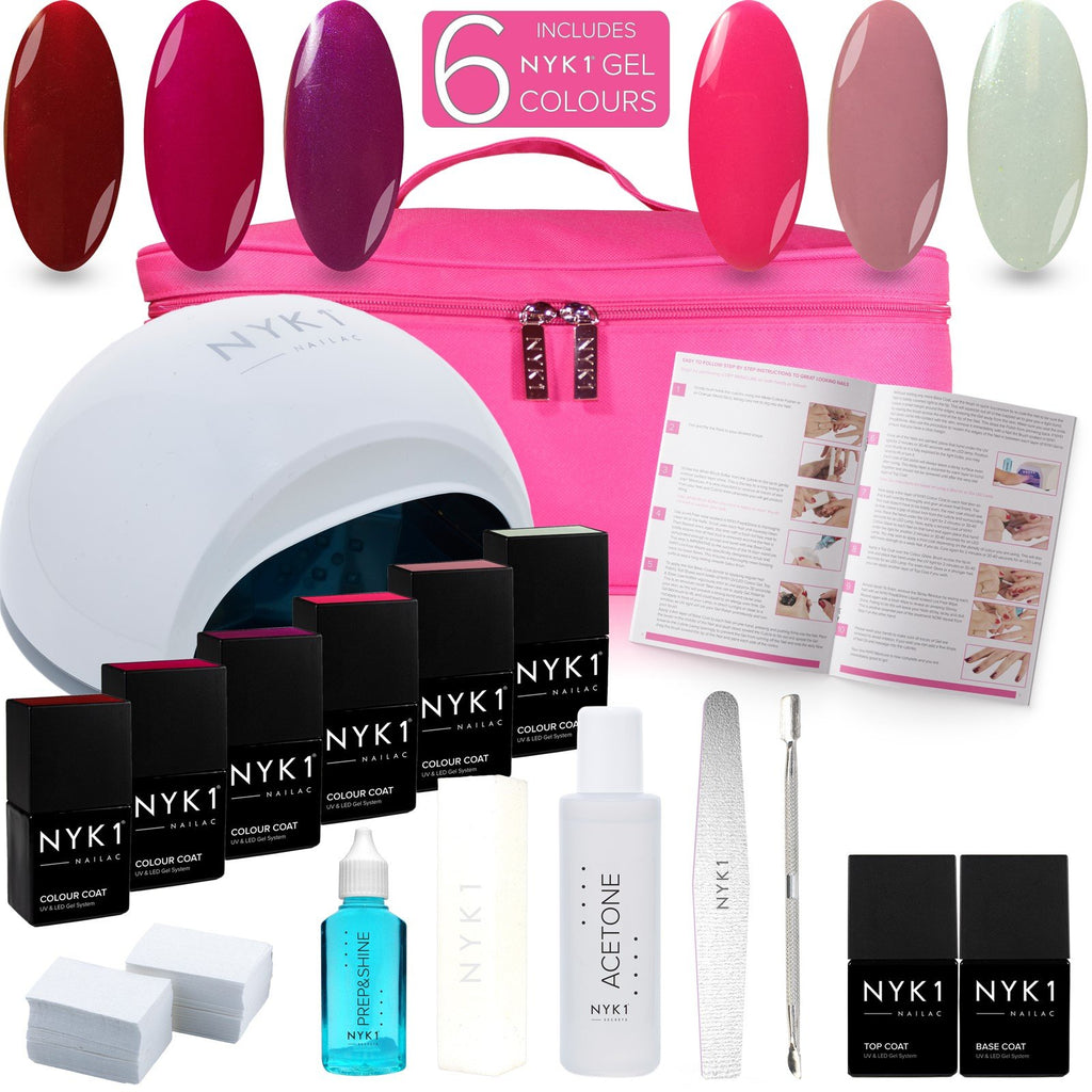 NYK1 UV Gel Nail Kit with 6 Colour Gel Nail Polish Starter Gift Set