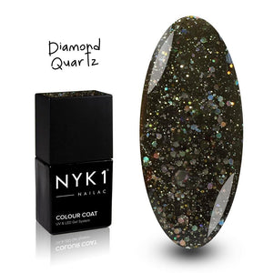 NYK1 Nailac Diamond Quartz Black Glitter Gel Polish for Nails
