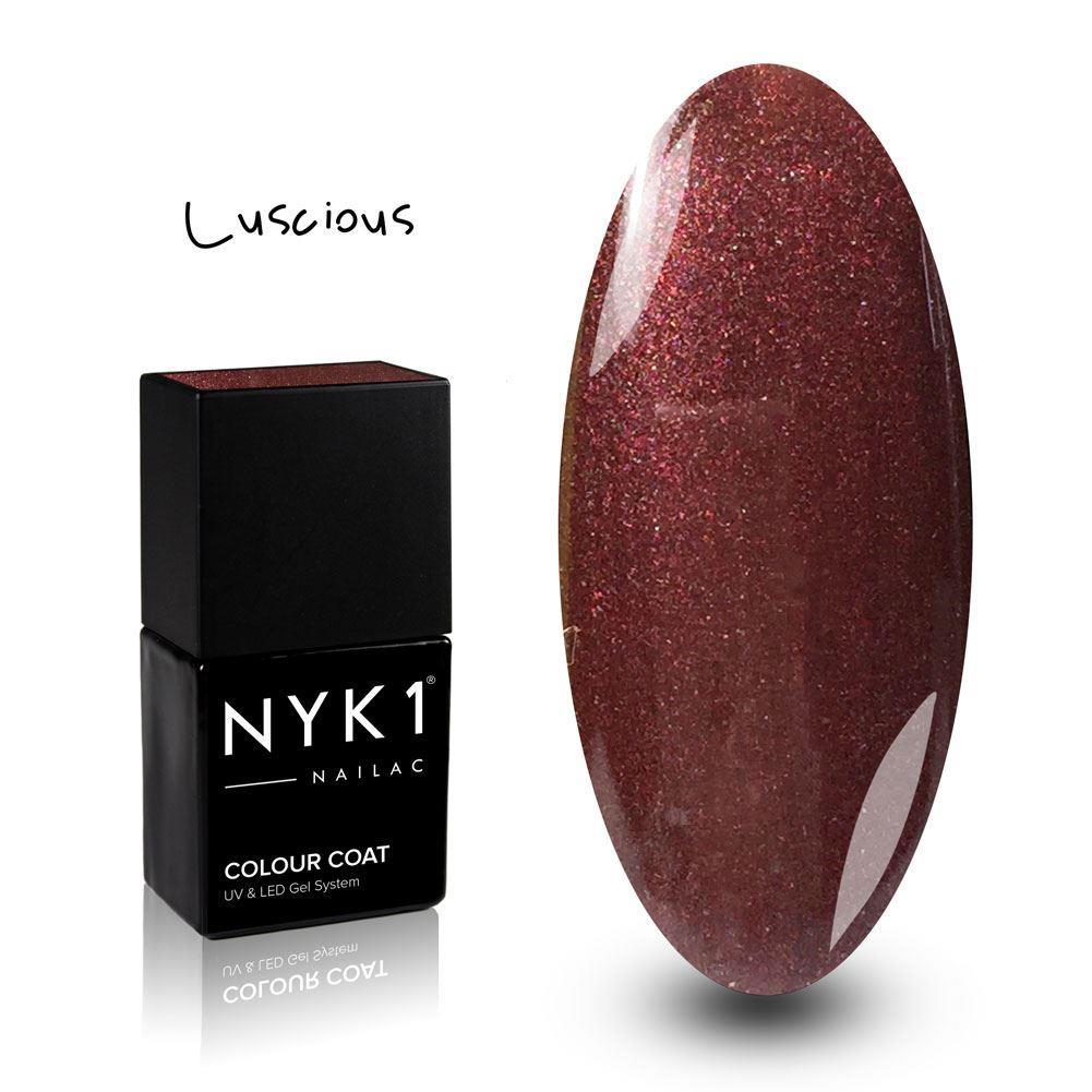 Nailac Luscious Brown Red Glitter Gel Polish for Nails