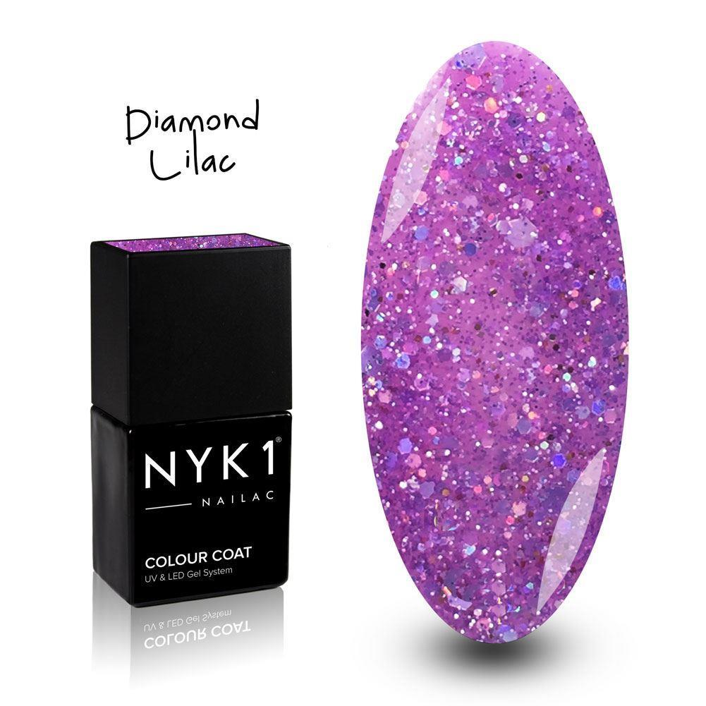 NYK1 Nailac Diamond Lilac Purple Glitter Gel Nail Polish