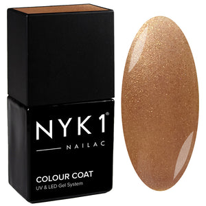 NYK1 Nailac Coffee Luxe Gold Glitter Sparkle Gel Nail Polish