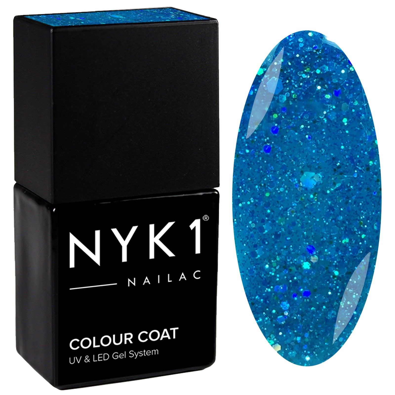 NYK1 Nailac Blue Mermaid Glitter Sparkle Gel Nail Polish