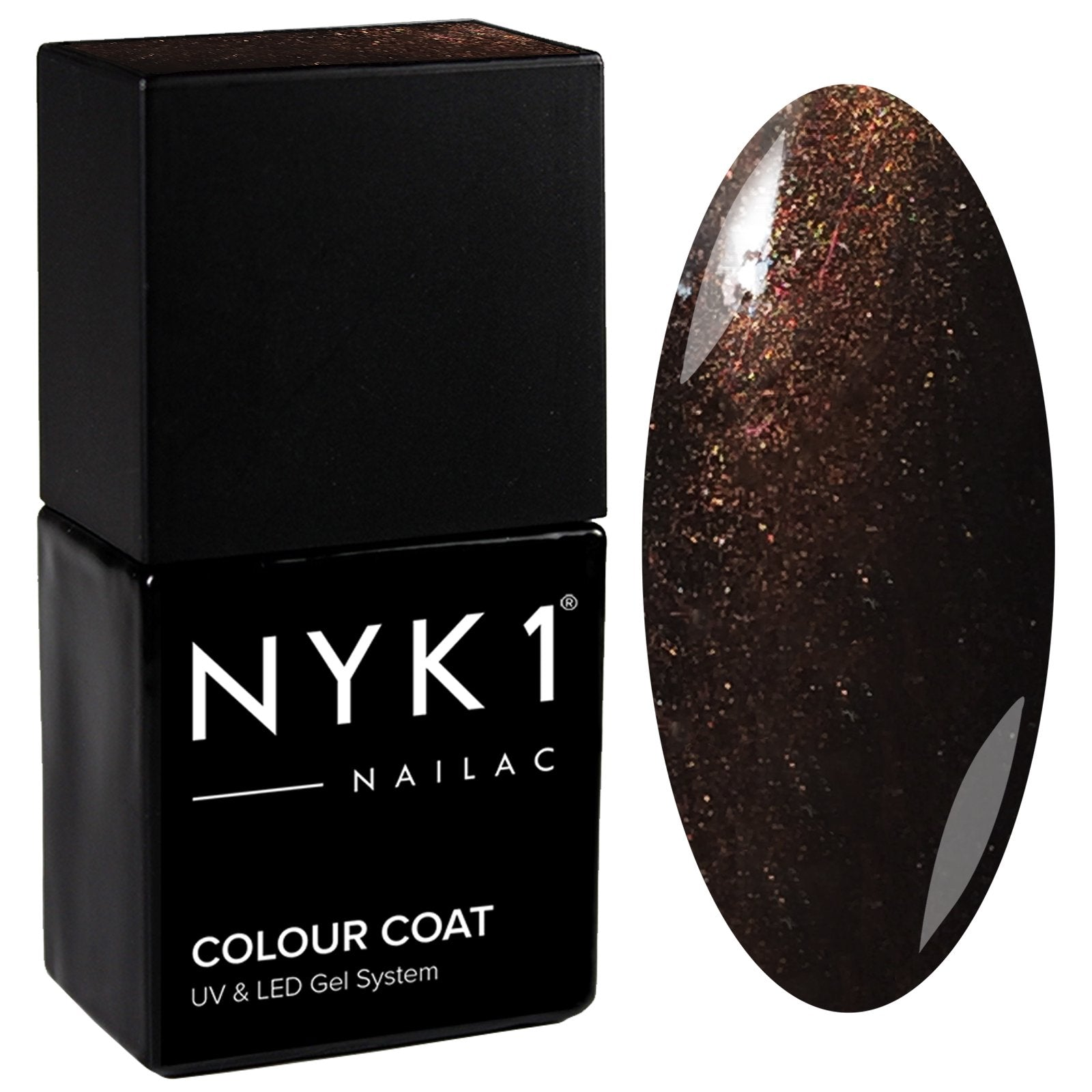 NYK1 Nailac Fig Brown Glitter Sparkle Gel Nail Polish
