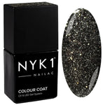 NYK1 Nailac Graphite Sparkle Deep Black Glitter Gel Nail Polish
