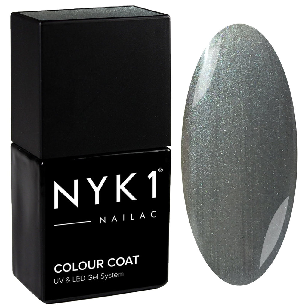 NYK1 Nailac Gun Metal Grey Glitter Sparkle Gel Nail Polish