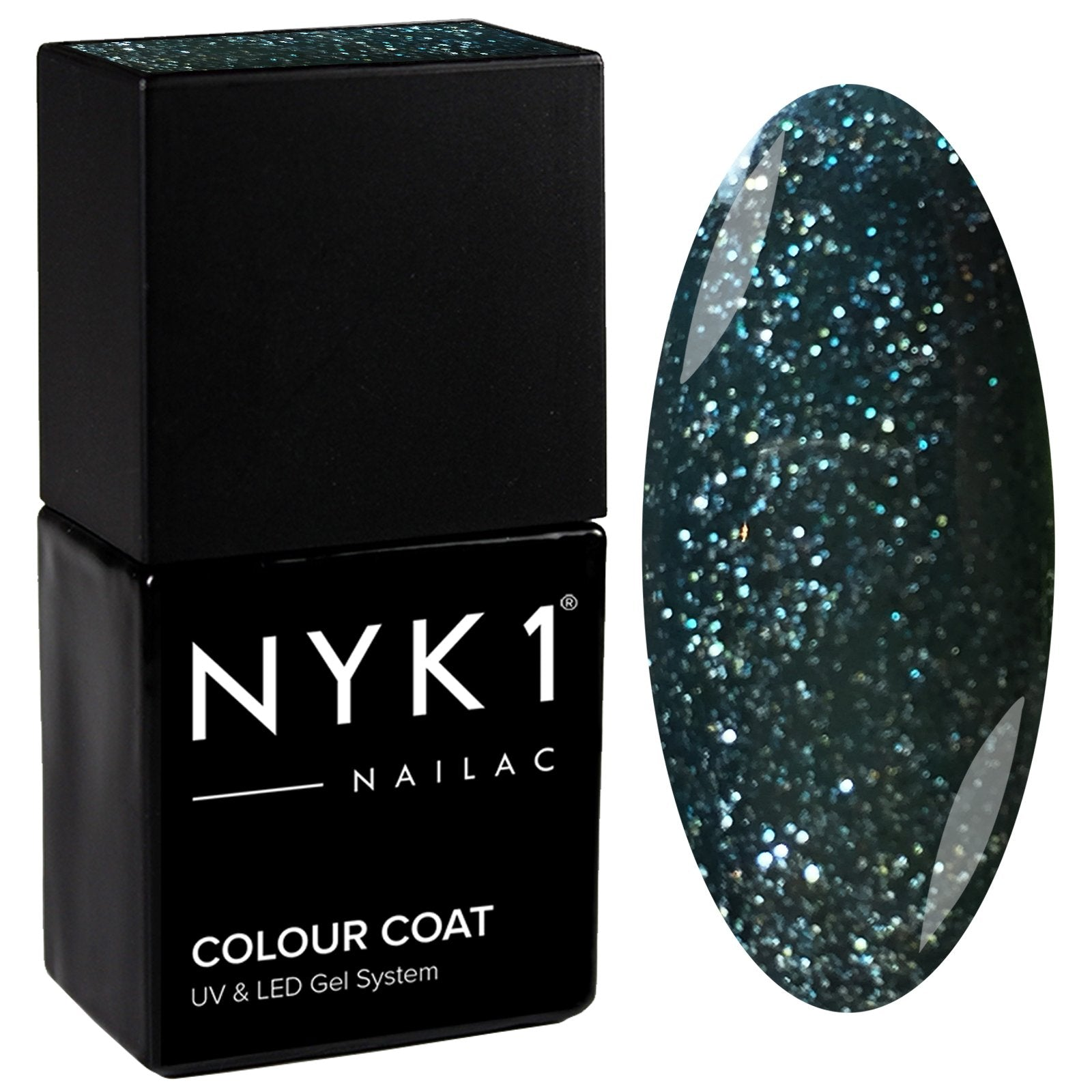 NYK1 Nailac Holly Green Glitter Sparkle Gel Nail Polish