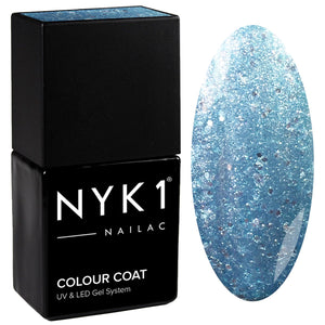 NYK1 Frozen Ice Ice Baby Blue Glitter Gel Nail Polish
