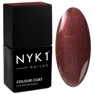 NYK1 Nailac Luscious Brown Red Glitter Gel Nail Polish