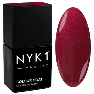 NYK1 Nailac Masked Queen Red Burgundy Glitter Gel Nail Polish