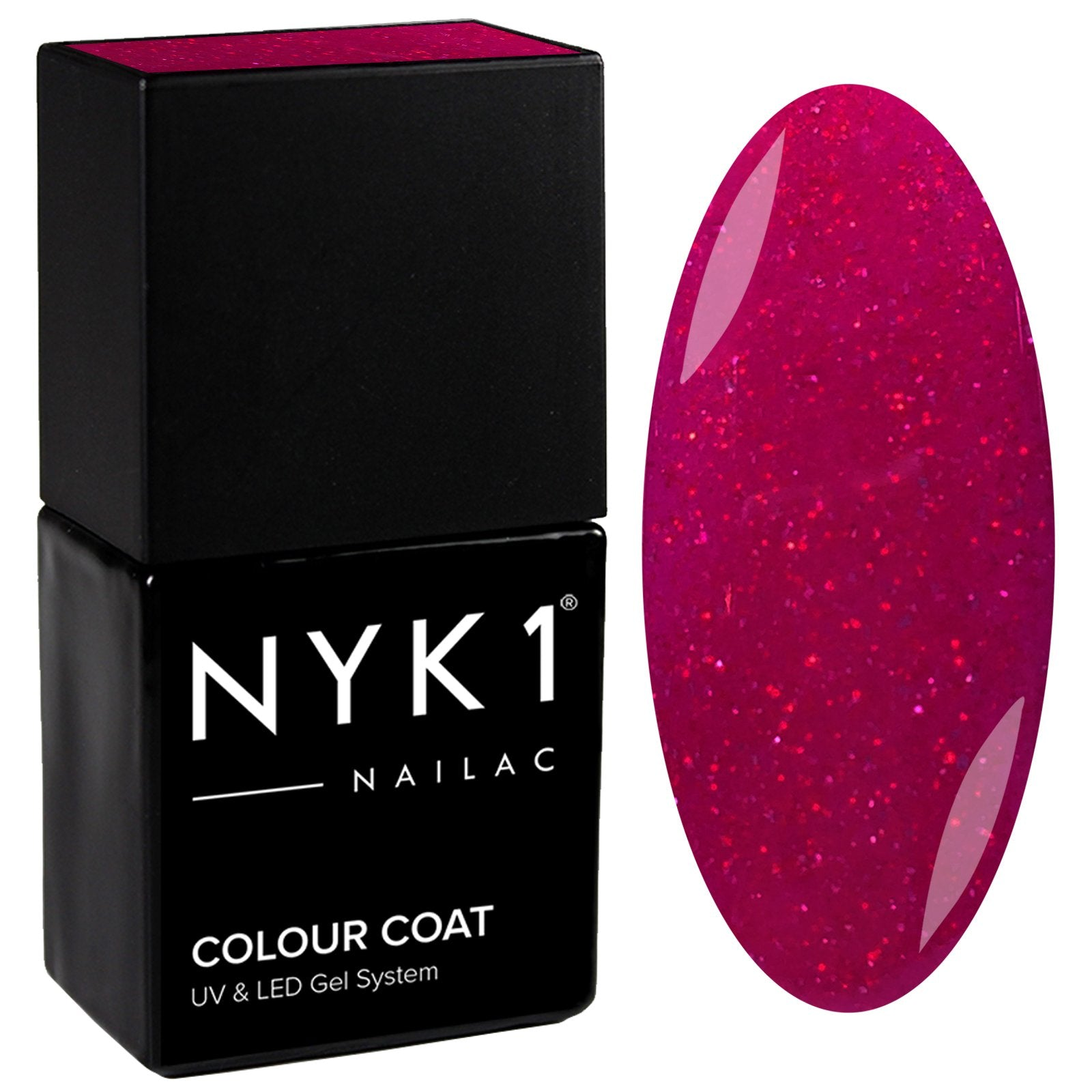 NYK1 Nailac Red Sparkle Glitter Gel Nail Polish