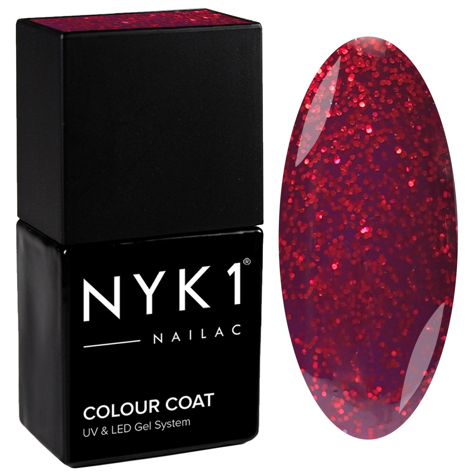 NYK1 Red Seduction Glitter Sparkle Gel Nail Polish