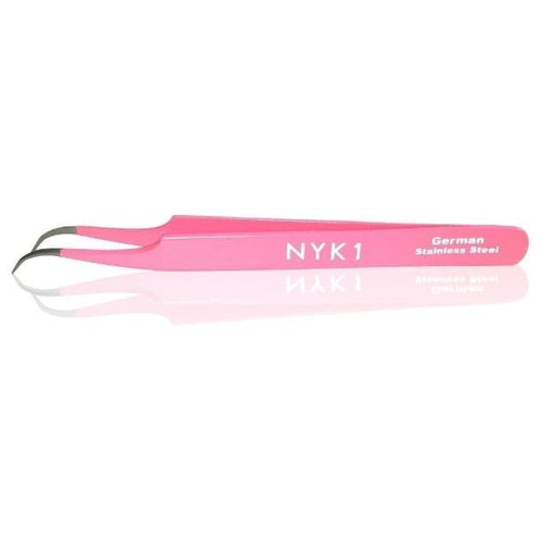 NYK1 Curved Tweezers (Silver/Pink)