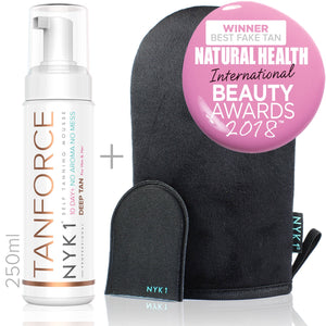 NYK1 Tan Force Mousse and Black Tanning Mitt Glove