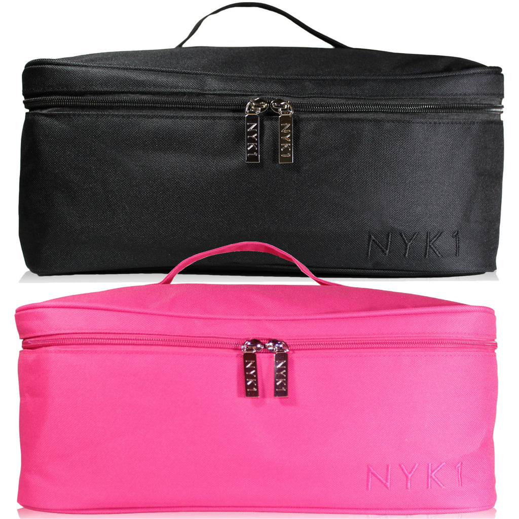 NYK1 Make Up Beauty Cosmetic Bag - Large Travel Vanity Case Bag for Storage of Makeup, Cosmetics, Nail Polishes,Toiletries with Pouch for Brushes Kit, Nail Art.  Pink or Black