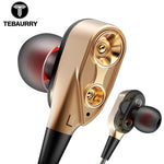 Double Unit Drive In Ear Earphone Bass Earphone With Mic