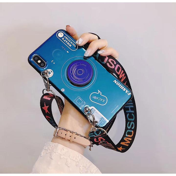 3D Retro Camera Lanyard Phone holder Case for Huawei
