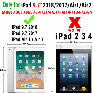 360Degree Rotating Leather Smart Cover Case for Apple iPad Air 1 Air 2 5 6 New iPad 9.7 2017 2018 5th 6th Generation Coque Funda