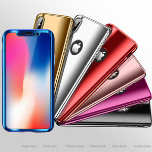 360 Full Protection Plating Mirror Case For iPhone