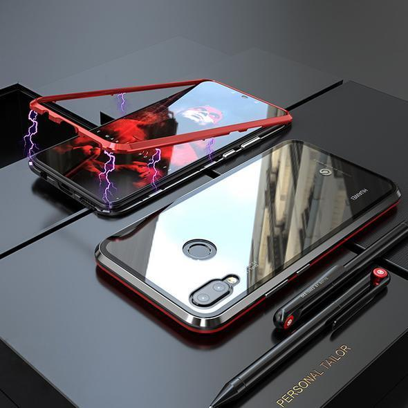 Magnetic Adsorption Transparent Tempered Glass Phone Case
