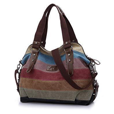 Women Casual Stripe Canvas Handbags