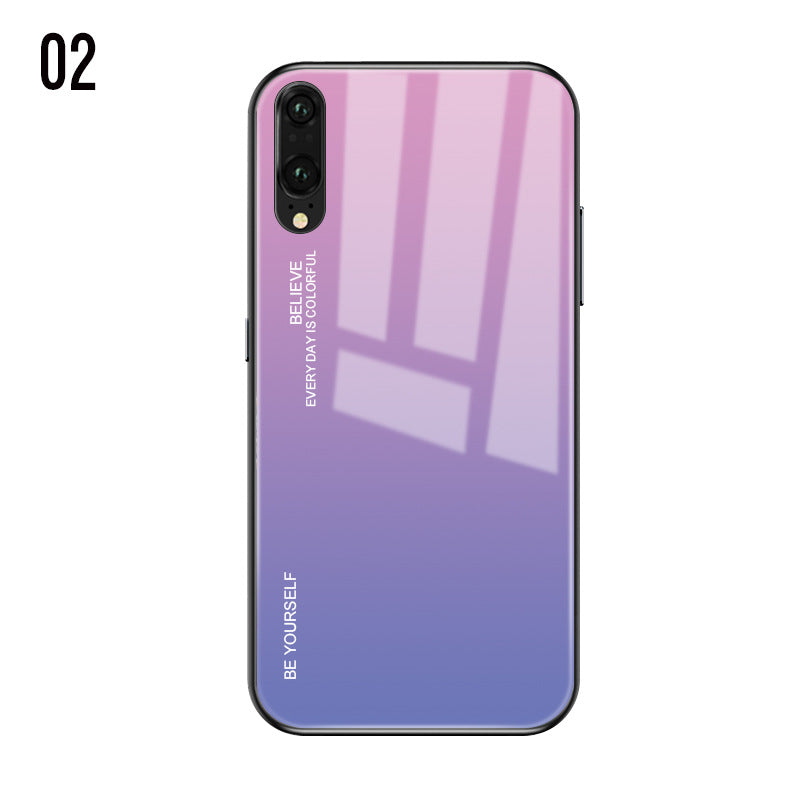 Gradient Aurora Tempered Glass Cases For Huawei