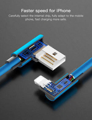 90 Degree USB Cable Fast Charging L Type cord data Charger For iPhone -  Blue - 1m
