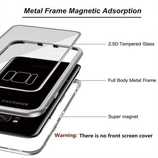 buy popular 89f94 a843b Magnetic Adsorption Flip Phone Case for Samsung - Blue Clear - Samsung S8